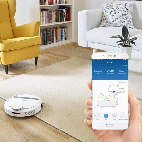 Ecovacs DEEBOT907-RB Deebot 907 Carpet & Floors WiFi Smart Robotic Vacuum - Certified Refurbished