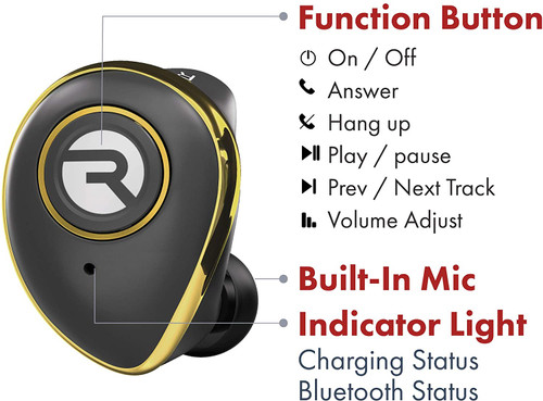 Raycon E50 Wireless Earbuds Bluetooth Built-in Mic Headphones + Case Gold