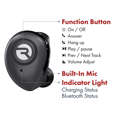 Raycon E50 Wireless Earbuds Bluetooth Built-in Mic Headphones + Case Black