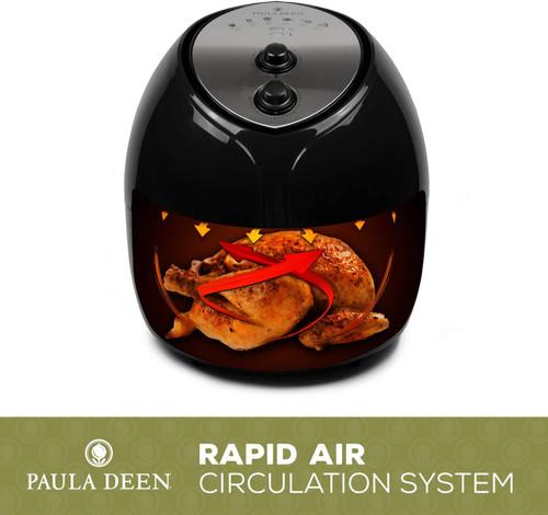 Paula Deen HF-9001DBLK 9.5 QT 1700 Watt Family-Sized Air Fryer, Black