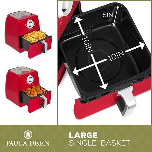 Paula Deen PDAF8TX-2RR 8.5QT 1700 Watt Large Air Fryer, Rapid Air Circulation System, Red