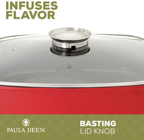 """Paula Deen FPB-002-2-2R 15"""" 1400 Watt Large Electric Skillet Cook Casserole with Glass, Red"""