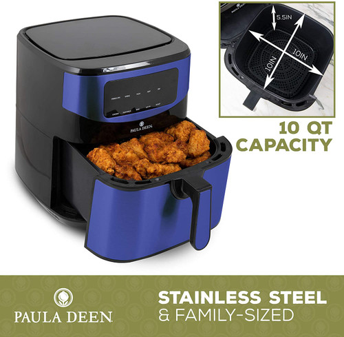 Paula Deen PDKDF579SB Stainless Steel 10 QT Digital Air Fryer 1700 Watts, LED Display, 10 Preset Cooking Functions, Ceramic Non-Stick Coating, Auto Shut-Off, 50 Recipes Blue Stainless