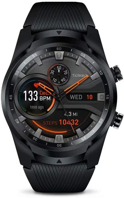 TicWatch P1031004300-RB Pro 4G LTE GPS IOS Android Smartwatch Black - Certified Refurbished