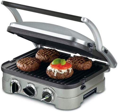Cuisinart GR-4NWFR 5-in-1 Grill Griddler Panini Maker Bundle with Waffle Attachment, Includes Grill and Waffle Plates - Certified Refurbished