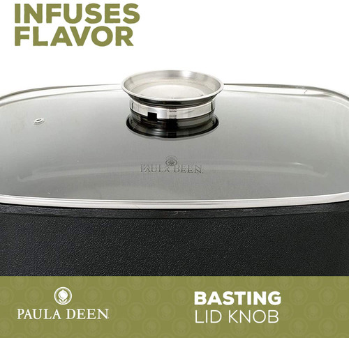 "Paula Deen FPB-002-2-2B-RB 15"" 1400 Watt Large Electric Skillet Cook Casserole with Glass, Black - Refurbished"