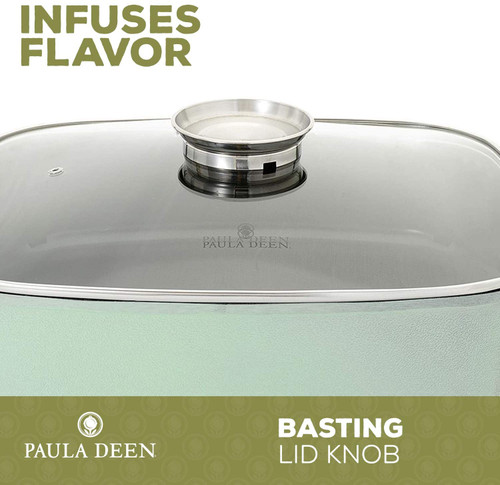 """Paula Deen FPB-002-2-2M-RB 15"""" 1400 Watt Large Electric Skillet Cook Casserole with Glass, Mint - Refurbished"""