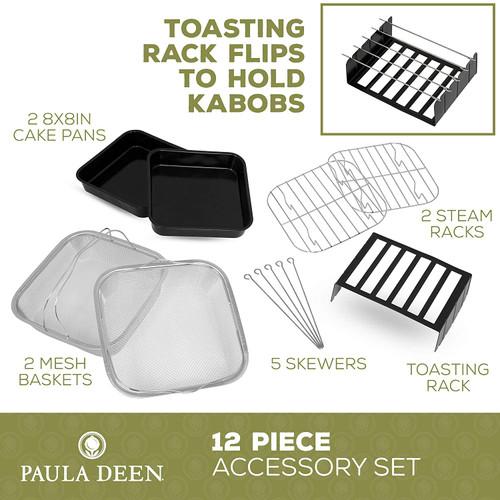 Paula Deen PDAFAK11-RB 12 Pieces Air Fryer Accessory Kit, Fits 8.5QT, 9.5QT, 10QT and 13QT Models - Refurbished