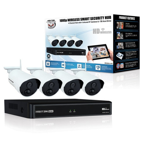 Night Owl WNVR201-44P 4 Channel 1080p Wireless Smart Security Hub with 4 x 1080p Infrared IP Cameras and 1 TB HDD