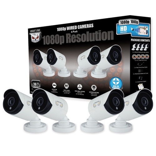 Night Owl CAM-4PK-HDA10W-BU 4 Pack Add–On 1080p HD Wired Security Bullet Cameras