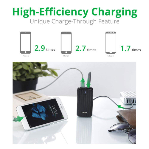 Zendure A2 Portable Charger 6700mAh – Ultra-durable External Battery Power for iPhone, Android and more. Lightweight and Compact– Black ZDA2P33-B