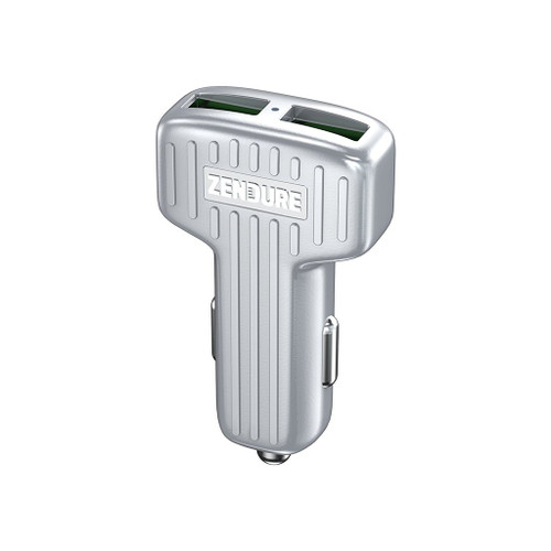 Zendure Quick Charge 3.0 30W Dual USB Car Charger for iPhone, iPad, Samsung Galaxy, LG, Pixel & More - Silver ZDACCQC-S