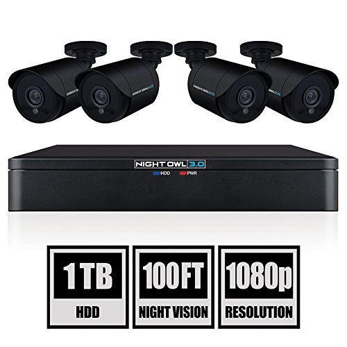Night Owl CL-XHD301-84, 8 Channel HD Video Security DVR with 1 TB HDD and 4 x 1080p HD Wired Cameras