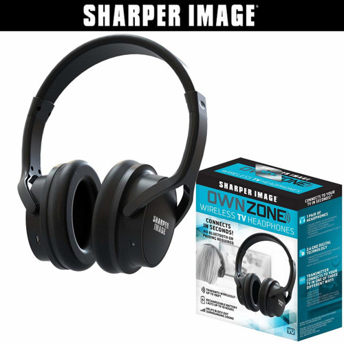 Sharper Image Own Zone™ DLX Wireless TV Headphones with Transmitter- Black