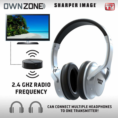 Sharper Image Own Zone DLX Wireless TV Headphones with Transmitter- Choose Color (Black or Silver)