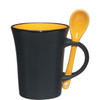 8oz Aztec Spooner Mugs with Custom Imprint - Matte Black Exterior/Yellow Interior