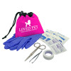 Promotional Pet First Aid Kit with Drawstring - Hot Pink