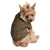 Combed Cotton Cable Knit Sweater for Dogs, Herb Green