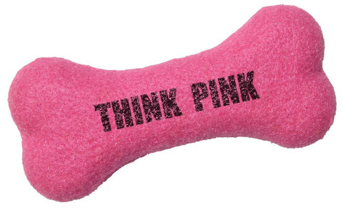 Custom Printed Bone Shaped Tennis Ball Dog Toys - Hot Pink