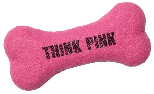 Custom Printed Bone Shaped Tennis Ball Dog Toys - Hot Pink