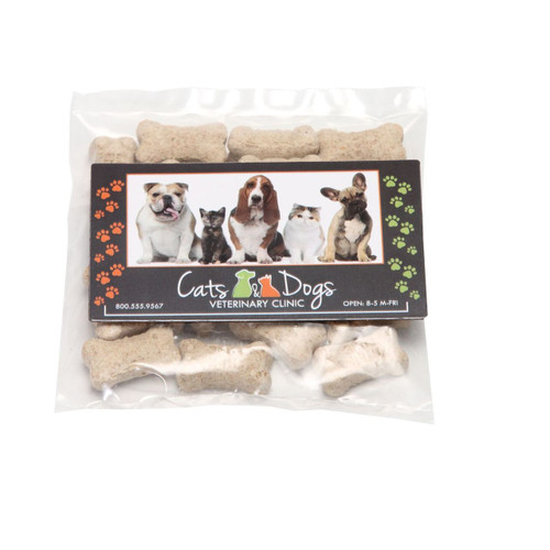 Mini Dog Treat Packets with Custom Business Card Magnet