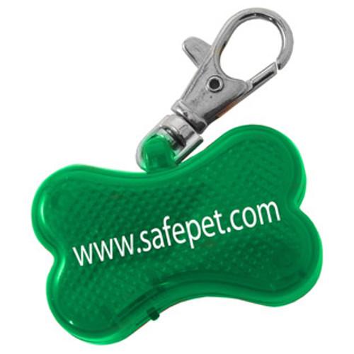 Dog Bone Shaped Light Up Collar Tag with Custom Imprint - Green w/Green LED