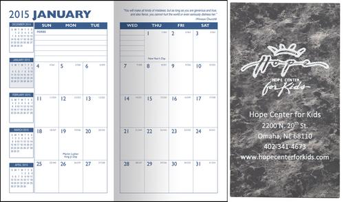Pocket Calendar.14 Month Pocket Calendar Planner