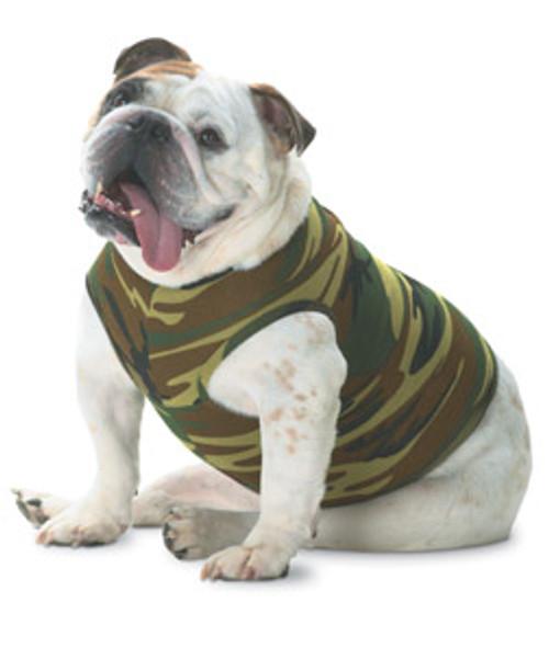 Custom Printed Dog T-Shirts, Doggie Skins Baby Rib Tank - Green Woodland