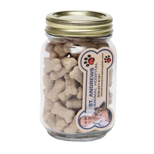 Mini Dog Bones in Pint Jar with Custom Bone Magnet