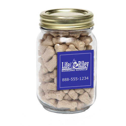 Mini Dog Bones in Pint Jar with Square Custom Magnet