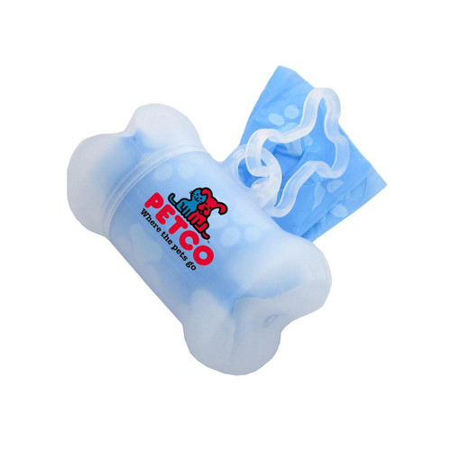 Promotional Clear Bone Shaped Dog Poop Bag Dispensers - Full Color Imprint