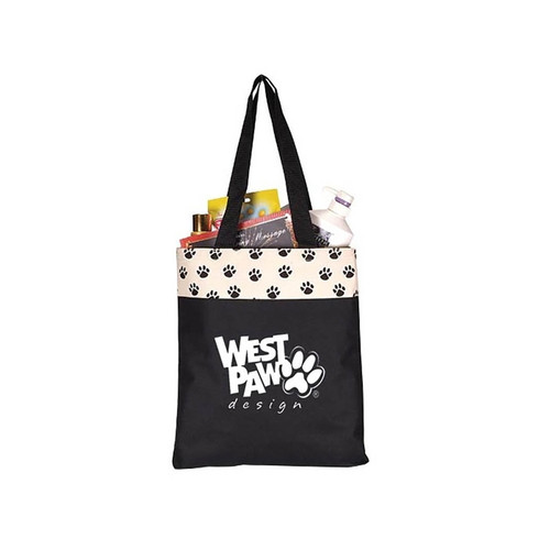 Custom Printed Paw Print Tote Bag - Large