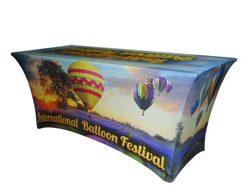 Custom Full Coverage Printed 6' Spandex Fabric Table Cover