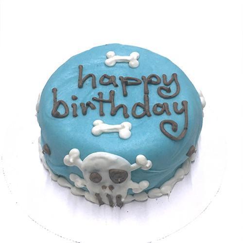 Customized Blue Skull Birthday Cakes for Dogs - Organic