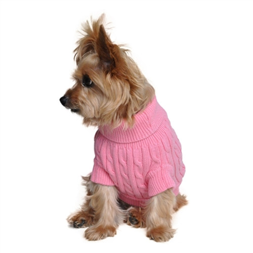 Combed Cotton Cable Knit Sweater for Dogs, Candy Pink