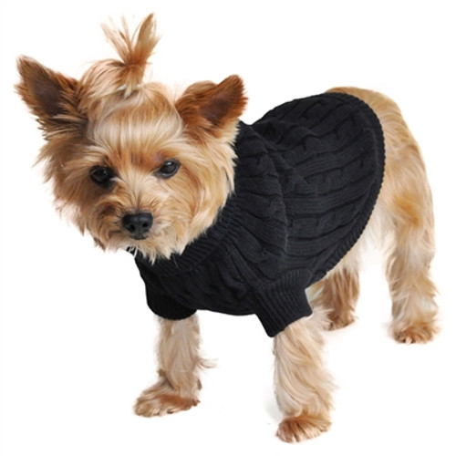 Combed Cotton Cable Knit Sweater for Dogs, Jet Black