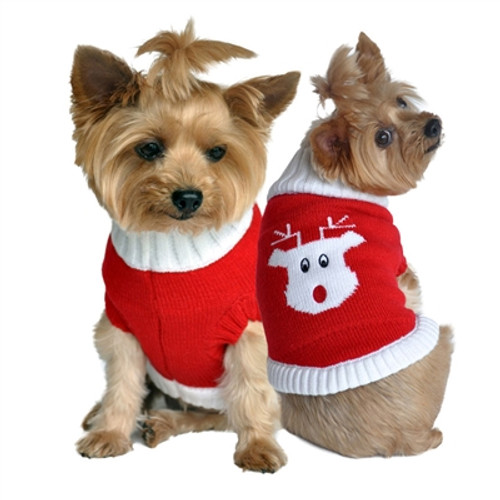 Red Rudolph Holiday Dog Sweater 100% Cotton