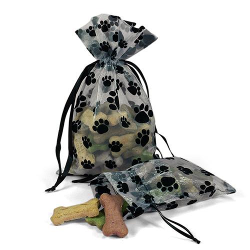 "Paw Print Organza Gift Bags 6"" x 10"" (Set of 6)"