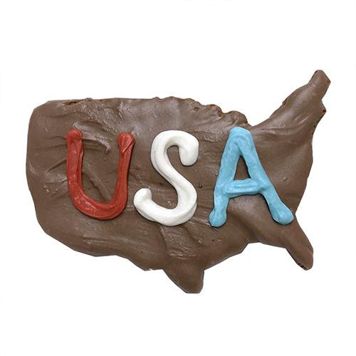 USA Map Shaped Dog Cookies (Case of 12 Treats)