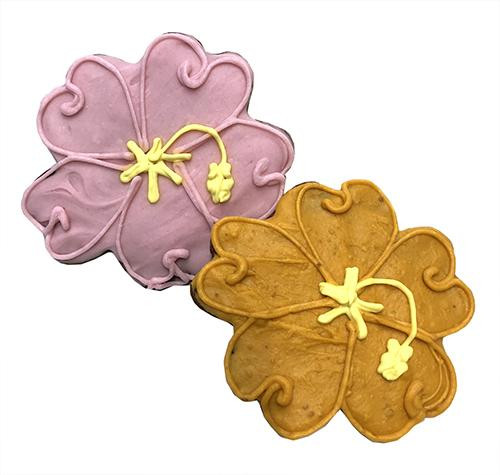 Hibiscus Flower Shaped Dog Cookies Case Of 8