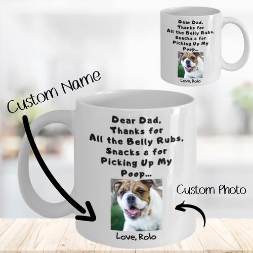 Thanks Dog Dad - Custom Name & Photo Mug