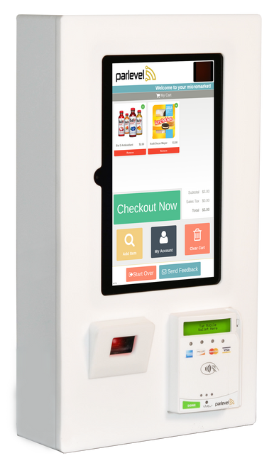 This kiosk is a complete micro market solution in a smaller package. Micro Market Mini can fit in locations that larger kiosks traditionally can't, and it is loaded with features that make it easy for your customers to scan, pay, and enjoy.