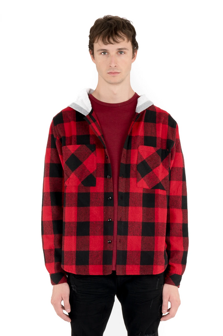 Heavy Hooded Plaid Red