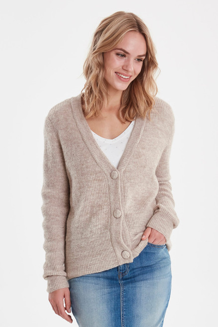Martine Cardigan Melange Cement