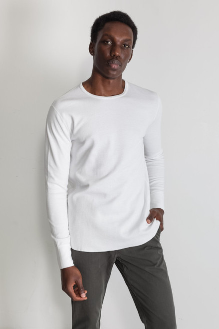 Mesh Thermal Long Sleeve Crew White