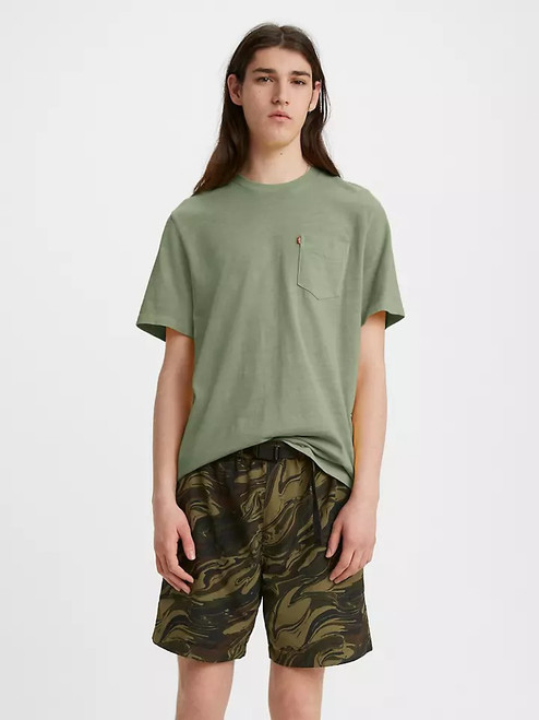 Relaxed Fit Pocket Tee Garment Dye Hedge
