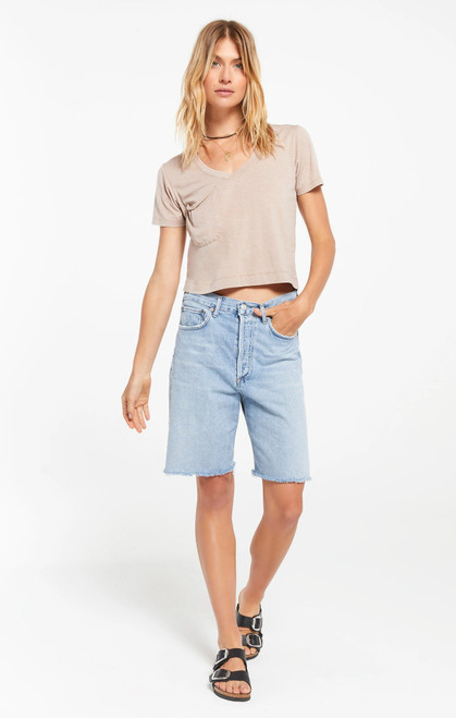 The Classic Skimmer Crop T-Shirt Taupe
