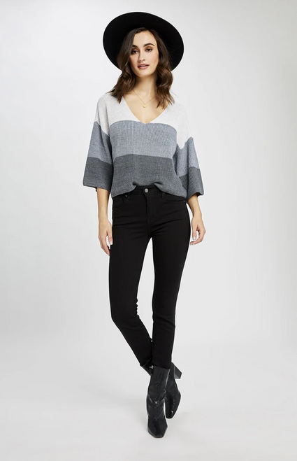 Nino Sweater Heather Grey Stripe