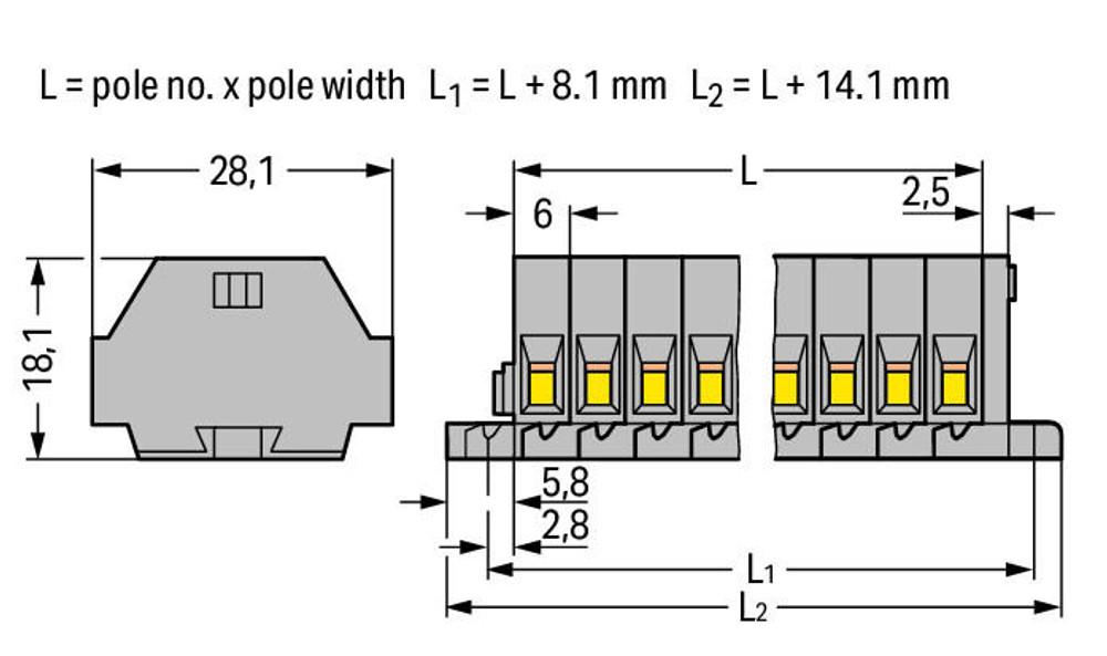 WAGO terminal stip, 3 pole, 2.5mm, grey