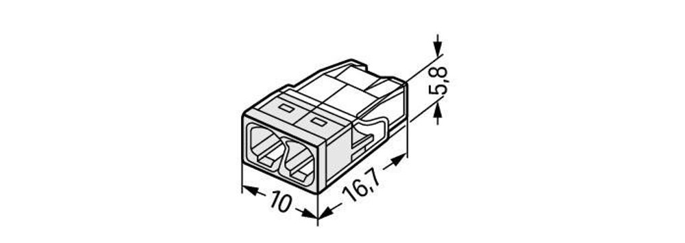 Wago 2273-202 Push Wire Connector, 2 conductor, Box qty 100